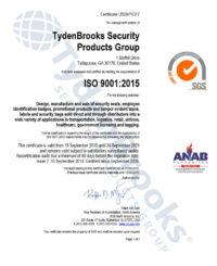 TydenBrooks ISO9001 Certificate