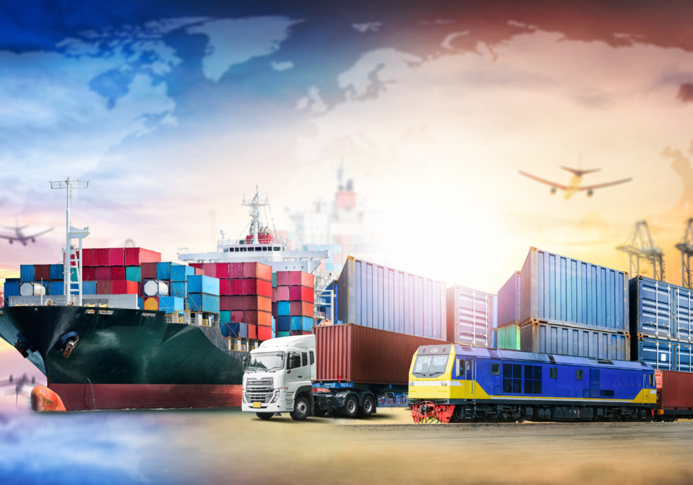 Global business logistics import export background and container cargo transport concept