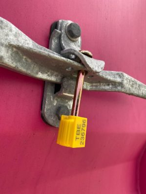 intermodal bolt seal securing intermodal shipping container